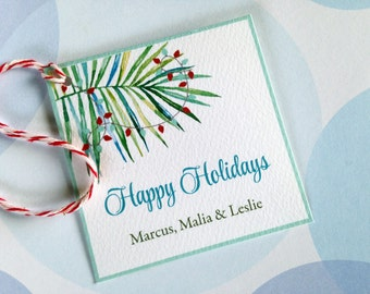 Christmas Tags, Personalized Gift Tags, Custom Holiday Tags, Tropical Tag, Set of 24