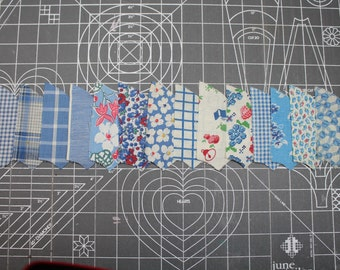1930 Quilt Fabric UNUSED Red Blue -Novelty Calico Floral- Gingham- Quilting Pieces - Fan/Pinwheel - 84 Pieces