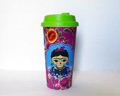 Frida Kahlo, travel mug, coffee mug, coffee cup, frida kahlo portrait, frida kalho art, feminist art, cup, mug, frida, mexican, gift for her