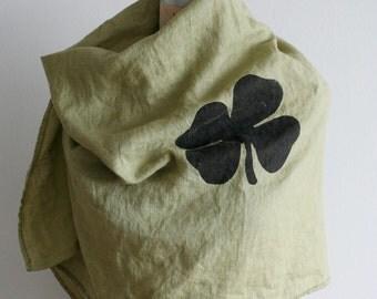Linen Scarf Green Irish Clover, Ireland , Shamrock