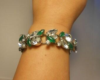 The Emeralds of Ireland - Vintage 1950s Juliana Clear and Jade Green Cabochon Rhinestone Bracelet  - D & E