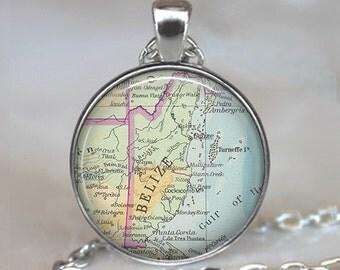 Belize map necklace, Belize pendant, Belize necklace, Belize key chain, map jewelry, map jewellery, travel gift, traveler's gift
