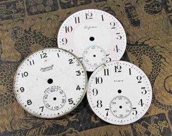 Porcelain Pocket Watch Faces VINTAGE Watch Plates Three (3) Porcelain Watch Faces STEAMPUNK Watch Jewelry Mosaic Assemblage Supplies (Y187)
