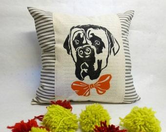 Bull Mastiff Decorative Pillow - Bull Mastiff Print Decorative Pillow, Bull Mastiff Face Print, Bull Mastiff Hand Block Print, Pet Portrait