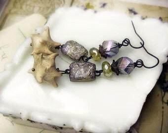 SALE Rustic Assemblage Earrings -  Polymer Clay Earrings - Faux Iridescent Druzy Stone - Spiky Bone Spurs - Glass Pearls & Nebula Glass