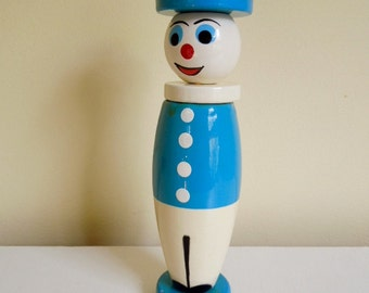 Vintage Wood Stacking Toy, Happy Clown, Red White & Blue, Nursery Decor