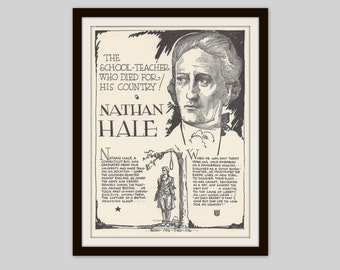 Nathan Hale, Vintage Art Print, Classroom Decor, History Teacher Gift, Man Cave Decor, US History, American Revolution, Military, War Hero