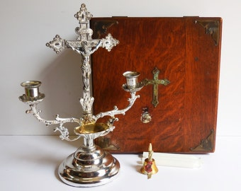 Antique Religious Sick call wood Box Kit w/ Crucifix Holy water Font Bell Candlesticks Last Rites decorative box Shrine altar