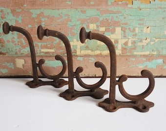 RESERVED 3 vintage Hooks cast iron hangers Rustic hat rack salvage Architectural hardware supplies