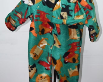 Baby Bunting with cartoon style dogs on dark green background print fleece outerwear