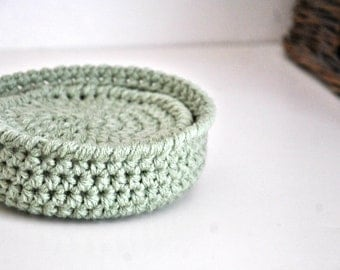 Sage Green Coasters Modern Mug Rugs with Basket Home Decor Rustic Design Crocheted Accessories Custom Colors