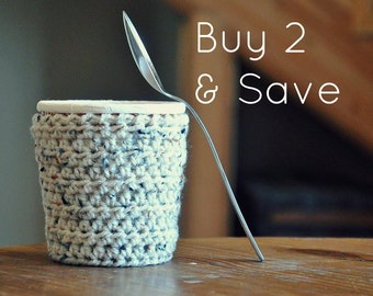 2 Ice Cream Cozies Pint Covers - Crocheted Holder Pint Size Eco Friendly Reusable Cover Get Well Gift Friend Gift Easy Hold
