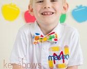 School Polo Shirt, Personalized Shirt, First Day of School, Kindergarten, 1st Grade Boy Shirt, Pencil Bow Tie, Monogram Polo, Toddler, Tween