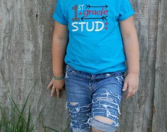 Back to School Embroidered Shirt, Boy, 1st Grade Stud, School Stud Shirt, Turquoise Toddler Shirt, Pre-k thru 6th grade