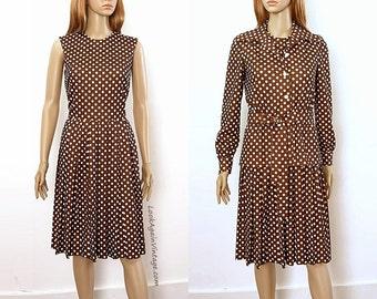 Vintage 1970s Dress with Jacket Dark Brown White Polka Dot Dress & Jacket / Small