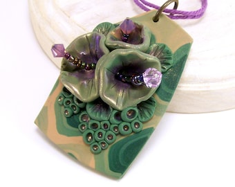Polymer Clay Jewelry, Flower Pendant Necklace, Art 3D Pendant, Green Pendant, Abstract Rustic Necklace, Handmade Clay Jewelry