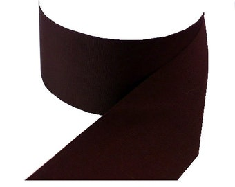 "2 1/4"" Wide Dark Brown Millinery Grosgrain Ribbon, Vintage Hat Band Millinery Ribbon"