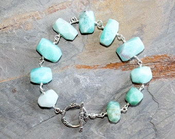 Amazonite Bracelet, Aqua Bracelet, Light Blue Bracelet, Natural Stone Bracelet, Rectangle Bracelet, Geometric Bracelet, Handmade Bracelet