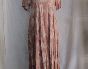 Batik Koi Fish Maxi Dress Pink Size Medium Long Pink Rayon Short Sleeve Summer Dress Made In Indonesia 90s Beach Festival Resort Wear