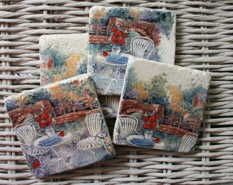Cottage Garden Stone Coaster Set of 4 Tea Coffee Beer Coasters