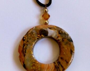 Round Donut Pendant Donut Pendant Round Donut Necklace Donut Necklace Gold Round Donut Pendant Polymer Clay Pendant