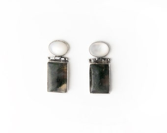 Vintage Mod Mother of Pearl and Green Moss Agate Sterling Silver Post Earrings