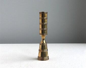 Vintage Dansk Brass Candlestick - Jens Quistgaard, 1960s, Banded Design - Mid Century Modern Metalwork