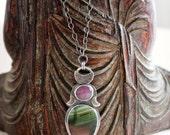 Star Ruby, Imperial Jasper, Prehnite, Sterling Silver Statement Necklace... Aurora...