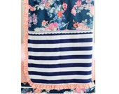 Navy Floral BLANKET ONLY with Coral Ruffle Trim, Crib Blanket for Navy Floral Coral Baby Bedding Design by Lottie Da Baby