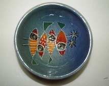 "MCM ""Fish"" Footed Bowl 60s Italian Hand Incised Painted Glaze Pottery Dish-Possibly Raymor"