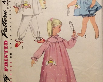 Vintage Sewing Pattern 1956 Girls'  Sleepwear Angel Applique Two Piece Panamas Gathered Top and Pants Nightgown Size 2