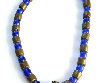 Vintage African glass necklace-Ghanaian recycled glass statement necklace