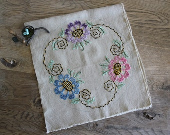 Vintage Arts and Crafts Embroidered Flowers Linen Pillow Front Cover Unused