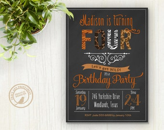 Birthday Invitation, Safari Animal Party, Zoo Party, Wild Animal Invitation, Tweens Birthday Invitation, Printable, Digital. 1509
