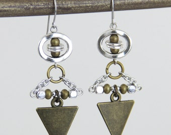 Bohemian Mixed Metal Earrings - Silver Antique Brass Mixed Metal Dangle Earrings - Geometric Boho Bohemian Fun Modern Unique