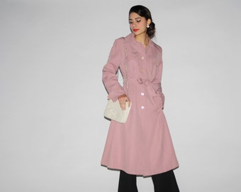 Vintage 1970s Dusty Purple Rose Women's Trench Jacket - Vintage 70s Trench - 1970s pink Coat  - WO0331