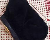 Vintage 1950s 1960s Clutch Evening Handbag Black Velvet Satin Bow