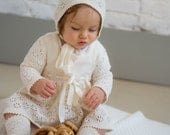 Baptism outfit Vintage look Knit Baby girl Natural white Ivory Dress Flower girl First birthdays dress Baby coming home outfit
