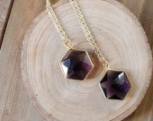 Amethyst Hexagon Necklace/ Purple Amethyst Pendant/Gemstone Hexagon Necklace Summer Fashion/Delicate Gift For Her/ Boho Indie Chic (NPC17)
