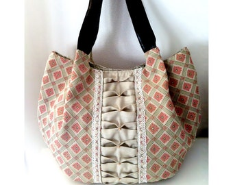 Romantic Floral Leather Tote - 3D Pattern, Leather Bag, Vintage Ribbons, Leather Base and Straps, Women Shoulder Bag (Big Size)
