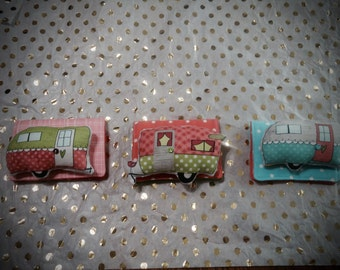 Pin Cushion, Retro Camper pin cushions and needle book set, camping sewing kit, vintage campers