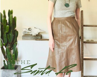 1970's Leather Skirt / Flare Trumpet A-Line / 70's Boho / Brown Tan / Small