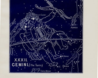 1895 Antique STARS CHART print, Gemini, The twins Constellation. original vintage astronomy lithograph + 100 years old