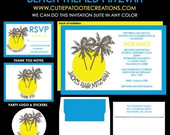 Beach Themed Bar Mitzvah Invitation - Destination Bar Mitzvah Invitations - Guest - Return Addressing - RSVP - Info - Celebration Card