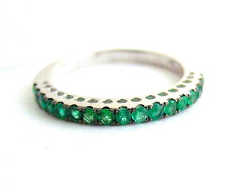 Emerald Anniversary Band 18k White Gold Free Shipping