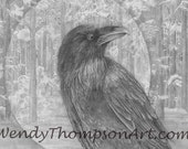 Raven Wood wild life art note cards - Original design, trilliums wildflowers, fantasy art, corvid raven feathers graphite pencil art