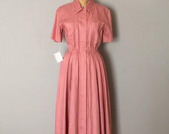 rose pink linen dress | embroidered collar dress