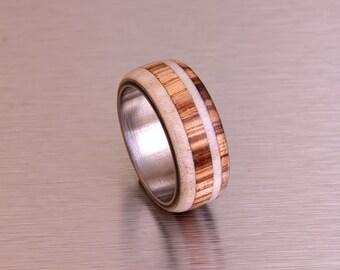 antler ring titanium ring with wood zebra deer antler band mens wedding band