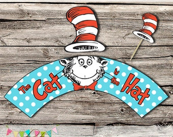 The Cat in the Hat Cupcake Wrappers and Hat Toppers - Printable - DIY - Digital File - INSTANT DOWNLOAD