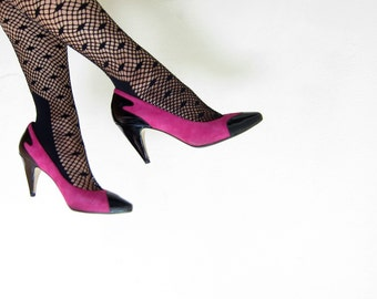 Vintage 1980s Fushcia and Black High Heel Pumps / 80s Hopt Pink Suede and Leather Shoes / 6